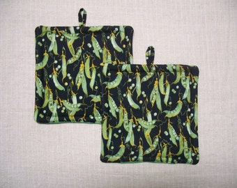 Green Peas Pot Holder - Trivet - Hot Pad - Insulated - Novelty, For the Kitchen, For the Cook