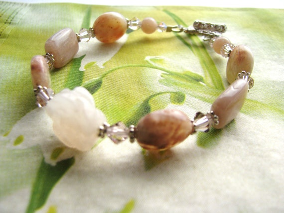 SUMMER SALE, Luxe Peach Gemstone Bracelet, Carved Stone Flower Bracelet, Sterling Silver Bracelet, Gift For Her, Ready To Ship