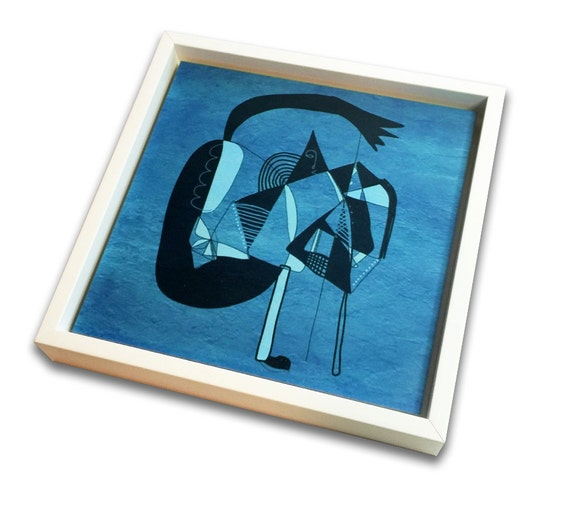 """Kyteman - Print on wood - signed and framed - 8"""" x 8"""""""