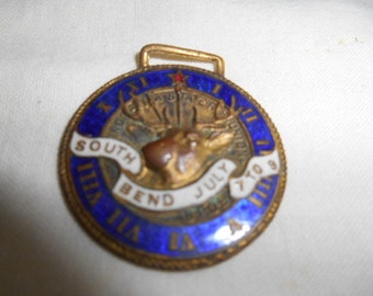 Early Elks BPOE Chain Fob or Ribbon Attachment Enameled South Bend