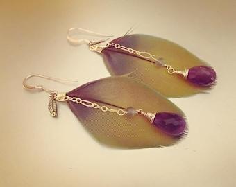SALE Cruelty free macaw feather earrings Amethyst