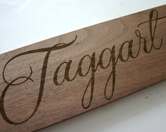 Personalized Family Sign Custom Engraved Walnut Family Name Sign