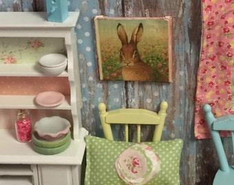 "Old World Rabbit Distressed  Miniature Canvas  2"" x 2"""