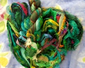 100 grams recycled silk  ribbon greens  knitting crochet craft embellishment yarn