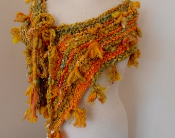 sale Scarf  Hand Spun Hand Knit Scarf golden green autumn colors merino silk gotland
