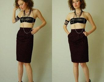 SALE SALE Velvet Pencil Skirt Vintage 80s Black Velvet Dot Brocade High Waist Urban Glam Pencil Skirt  (xs)