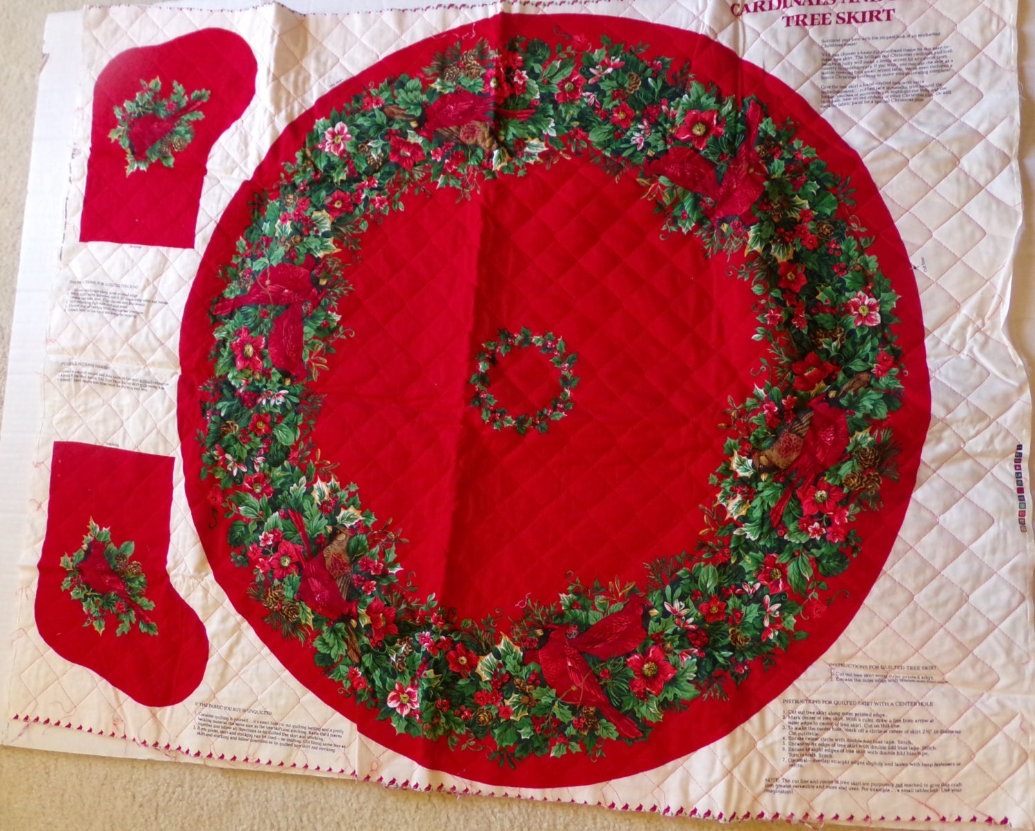 Cranston print works cardinals and holly christmas tree skirt
