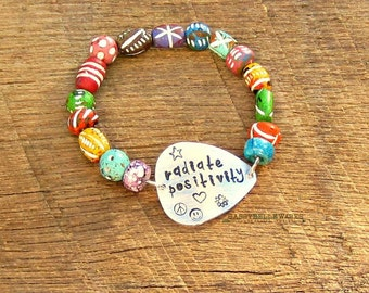 Guitar Pick Bracelet Radiate Positivity festival ready fashion style rocker girl chic mantra motto saying phrase musician music positive