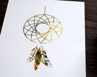 Geo Dream Catchers Distressed Gold Foil Print // 8x10 Weather Gold Bohemian Print
