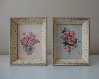 VINTAGE pair of pastel FLORAL PICTURES