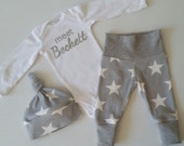 Personalized Bring Home Outfit. Meet (insert babies name) Stars. Leggings. Top Knot Hat and Headband Options. Take Home Baby Outfit Gift Set