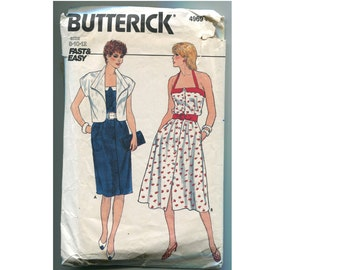 Halter Dress Pattern with Button Front, Straight or Flared Skirt and Cap Sleeve JacketButterick 4969 Misses 8 10 12 Vintage