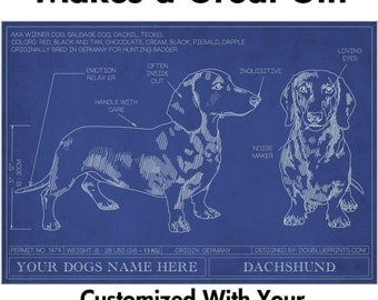 Dachshund Blueprint with Personalized Dog Name - Makes a Great Gift