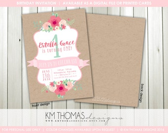 1st Birthday Invitation - Printable Girl Birthday Invitation - Pink Floral Bouquet - Pink Flowers - Kraft Paper - BD196