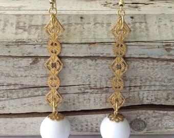 Large White Plastic Bead Drop Earrings