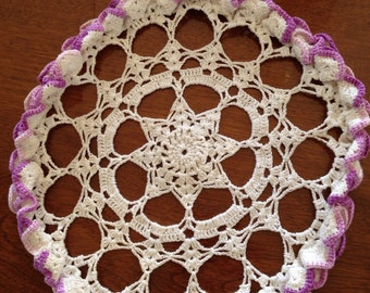 """Sale item, Vintage round doily, crocheted doily, purple and white doily, 8 1/2"""""""