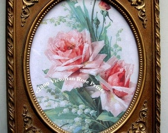 Pink Cabbage Roses Lily Valley, Art Print, Framed Art, Catherine Klein, Shabby Chic Decor