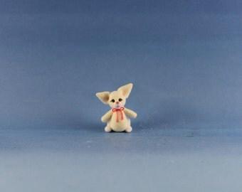 Miniature Handmade Yellow Easter Bunny, Dollhouse Baby Nursery Toy, Ooak, Artist Doll, Cheryl Brown