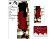 Long Red Skirt, Crochet PATTERN- crochet pattern for women, kids,  Hips: 30-60 inch and larger, custom size instructions included, #981