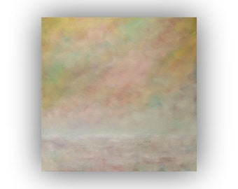 Large Abstract Landscape- Yellow White and Pink Field Sky and Clouds Oil Painting- Original 36 x 36 Palette Knife Art on Canvas