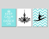 Dance Wall Art Keep Calm and Dance On, Chandelier, Chevron Jazz Dancer Trio Girl Bedroom Art - Set of Three 8x10 Prints - CHOOSE YOUR COLORS