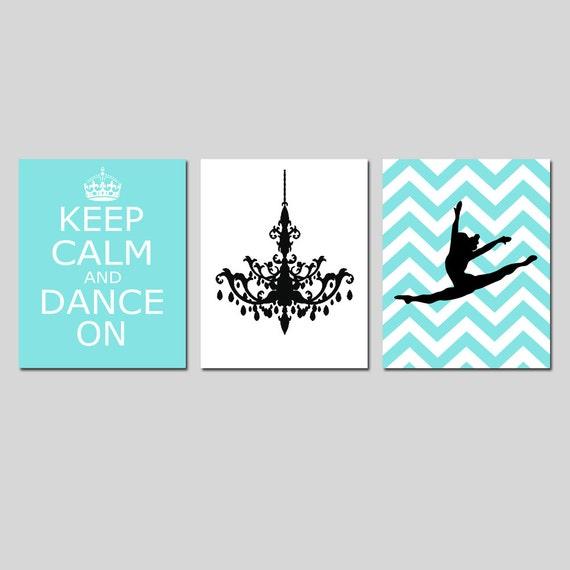Dance Wall Art Keep Calm and Dance On, Chandelier, Chevron Jazz Dancer Trio Girl Bedroom Art - Set of Three 8x10 Prints - CHOOSE YOUR COLORS