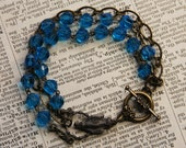 Vintage ROSARY Bead BRACELET- With Virgin Mary- Blue Beads Religious Icon Jewelry