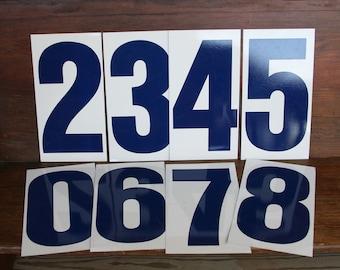 Vintage METAL NUMBER- 3 OR 5- Gas Station Signage- Blue & White Four or Five
