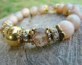 Brown Gemstone Bracelet, Druzy Agate Bracelet, Gold Bead Bracelet, Glass Bead Bracelet, Stretch Bracelet, Beaded Bracelet, Gemstone Bracelet