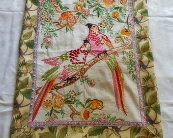 Vibrant EMBROIDERED PARROT PILLOW Cover Textured Feathers Flowers Foliage French Knots Silk Floss, Tapestry Back Handmade Accent, 18 x 22