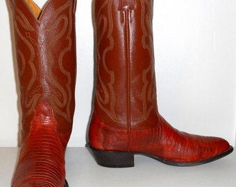 Mens 10 C Cowboy Boots Nocona Exotic Lizard Brown Reptile Narrow Width Country