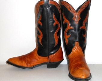 Womens 7 M Cowboy Boots Vintage Black Tan Dingo Cowgirl Western Fashion Shoes