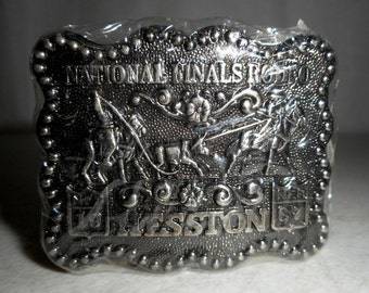 Sealed 1987 National Finals Rodeo Hesston Youth belt Buckle Team Roping NFR Mini