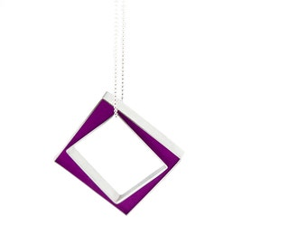 Panic Necklace magenta sterling silver and resin square