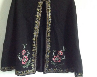 Vintage black felt embroidered cape