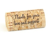 """Custom Printed Wine Cork Place Card Holders - """"Thanks for your love and support"""""""