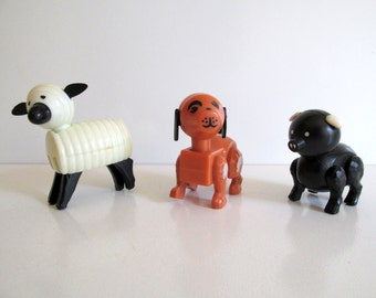 Fisher Price Little People #915 Farm Animals Pig Lamb Dog Vintage 1967 Toy Set