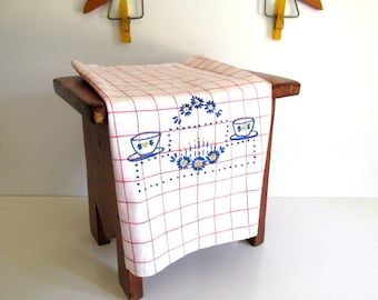 Vintage Dish or Tea Towel Red and White Windowpane Check Blue Hand Embroidered Design Farmhouse Kitchen