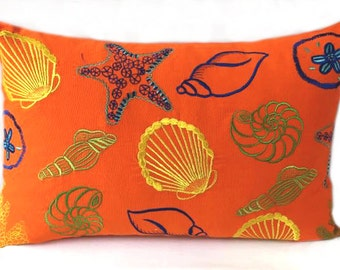 Orange sea themed pillow cover.Decorative sea life pillow 14x24 nautical costal inspired beach  pillow cover Beach house pillow.Beach decor
