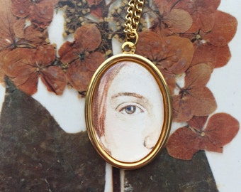 Emily Dickinson Hand-Painted Eye Miniature Portrait necklace Original Painting Pendant