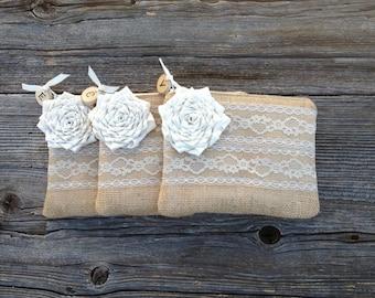 3 Personalized Bridesmaid Clutches, Woodland Wedding Bags, Personalized Bridesmaid Gifts, Rustic Bridesmaid Clutches, Burlap Lace Purse