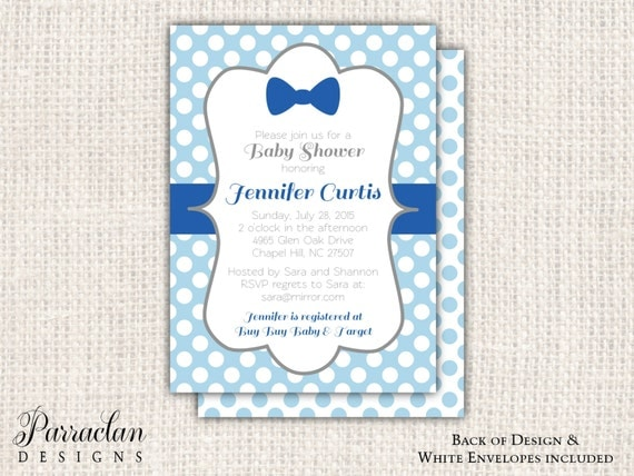 Bow Tie Baby Shower Invitation, Little Man Baby Shower Invitation, printable, digital file {BS91}