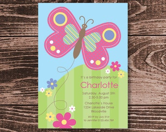 Butterfly Birthday Party Invitation – DIY Printable Personalized – Happy Butterfly (Digital File)