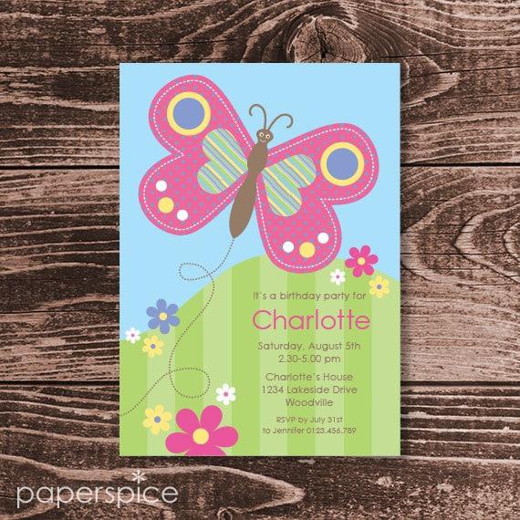 Butterfly Birthday Party Invitation DIY Printable Personalized – Diy Birthday Party Invitations