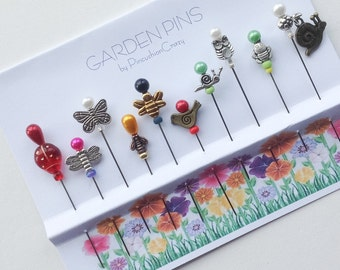 Garden Pins - Embellishment Pins - Decorative Sewing Pins - Gift for Quilter - Sewing Accessory - Pincushion Pals - Bee Pins - Flower Pins