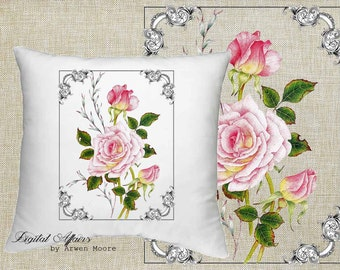 Digital Download Livingroom Collection Vintage Chic Pink Rose Border Black White Image 4 Papercrafts, Transfer, Pillows, Totes, Etc va032