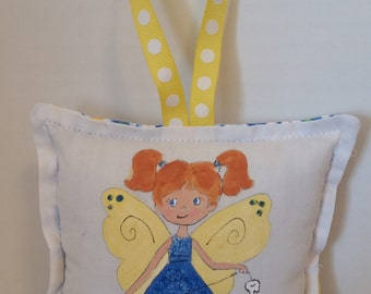Tooth Fairy Pillow - Girl Fairy with Auburn hair  - Hand Painted -  Add Name FREE