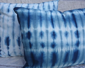 """Indigo Shibori Pillow Covers Two Egyptian Cotton Blue White Natural Plant Dye Unusual Throw Pillow Covers  19"""" x 24"""" and 23"""" x 24"""" Hand Dyed"""