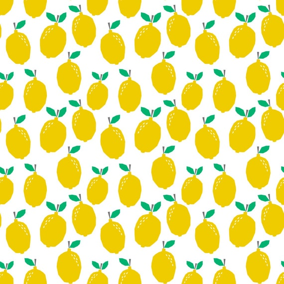 Yellow lemon fabric summer tropical citrus cute kids nursery for Yellow nursery fabric