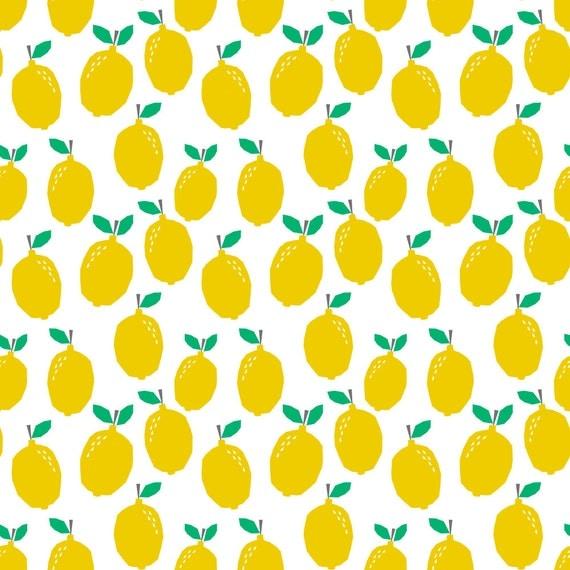 Yellow lemon fabric summer tropical citrus cute kids nursery for Yellow nursery fabric